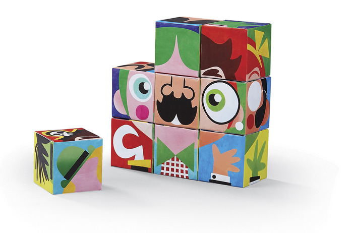 People Make a Face Puzzle Blocks