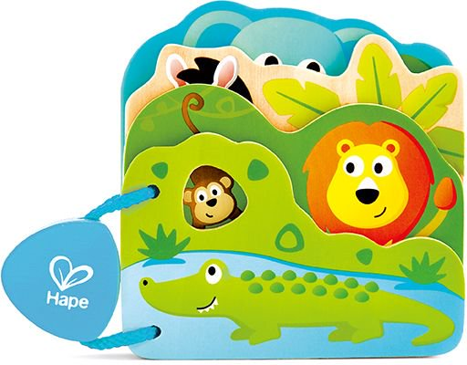 Hape Early Explorer Ξύλινο Βιβλιαράκι Baby's Wild Animal