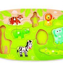 Hape Happy Puzzles Ξύλινο Παζλ Άγρια Ζώα Jungle Peg_1