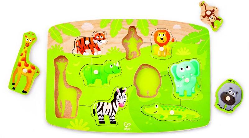 Hape Happy Puzzles Ξύλινο Παζλ Άγρια Ζώα Jungle Peg