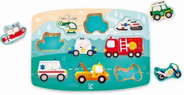 Hape Happy Puzzles Ξύλινο Παζλ Οχήματα Emergency Peg