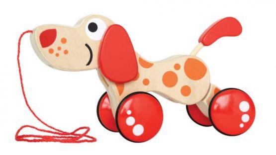Hape Push & Pull Ξύλινο Συρόμενο Σκυλάκι Walk-A-Long Puppy
