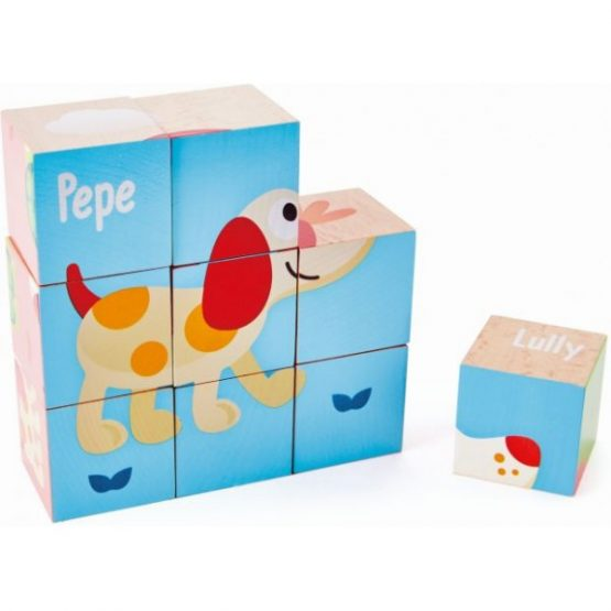 Hape Pepe & Friends Ξύλινο Πάζλ-Κύβοι