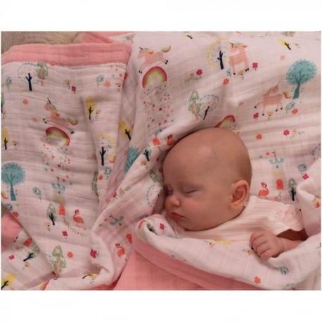 Κουβέρτα Μουσελίνα –  Wonderland Ροζ