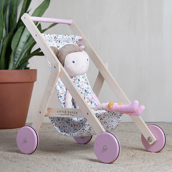 Ξύλινο καρότσι για κούκλες Spring Flowers